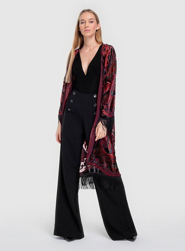 Kimono largo con flecos