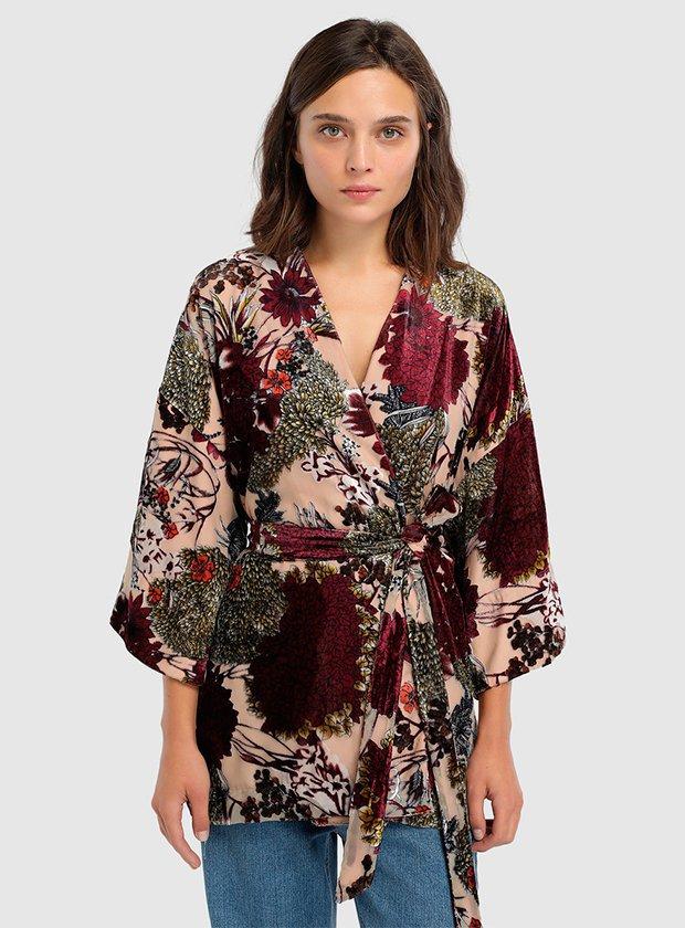 Kimono de mujer Tintoretto en tejido devorado con cinturón