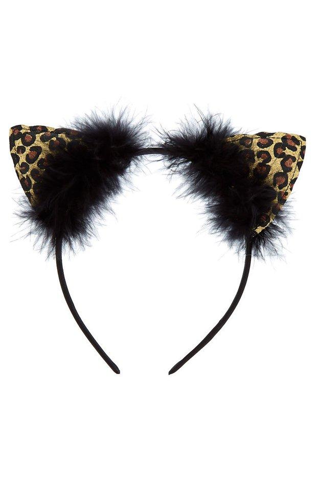 Diadema de orejas de gato con estampado animal print de Claire's: productos maquillaje de halloween