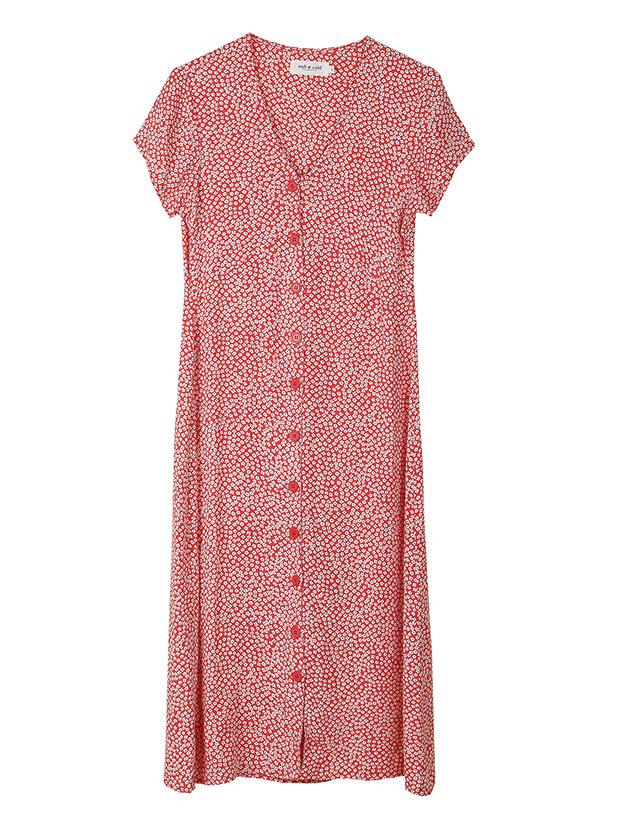 Vestido rojo de flores de la Colección Primavera Verano 2019 de Indi&Cold