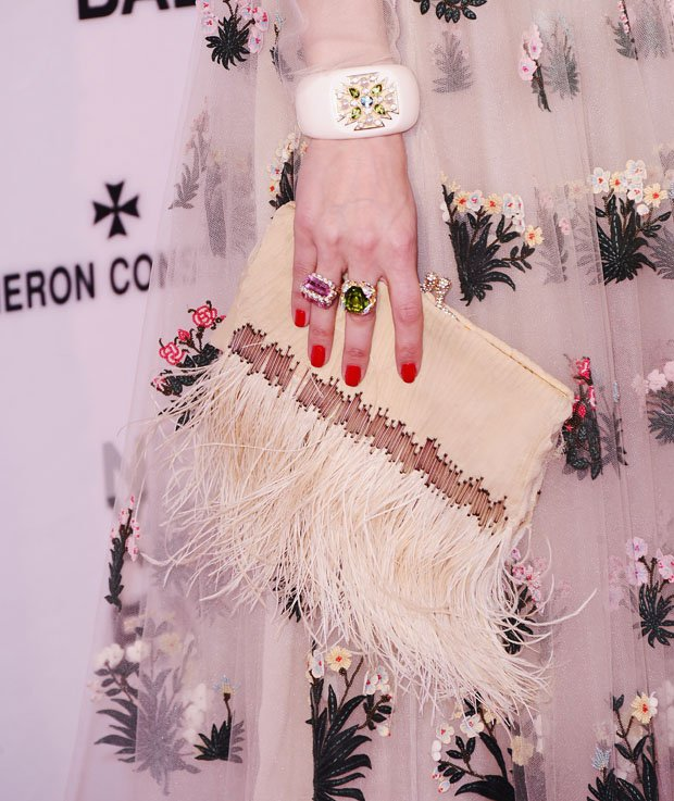 NEW YORK, NY - MAY 07:   Bag and jewelry detail of  Olivia Palermo as she attends the New York City Ballet 2015 Spring Gala at David H. Koch Theater, Lincoln Center on May 7, 2015 in New York City.  (Photo by Stephen Lovekin/Getty Images)