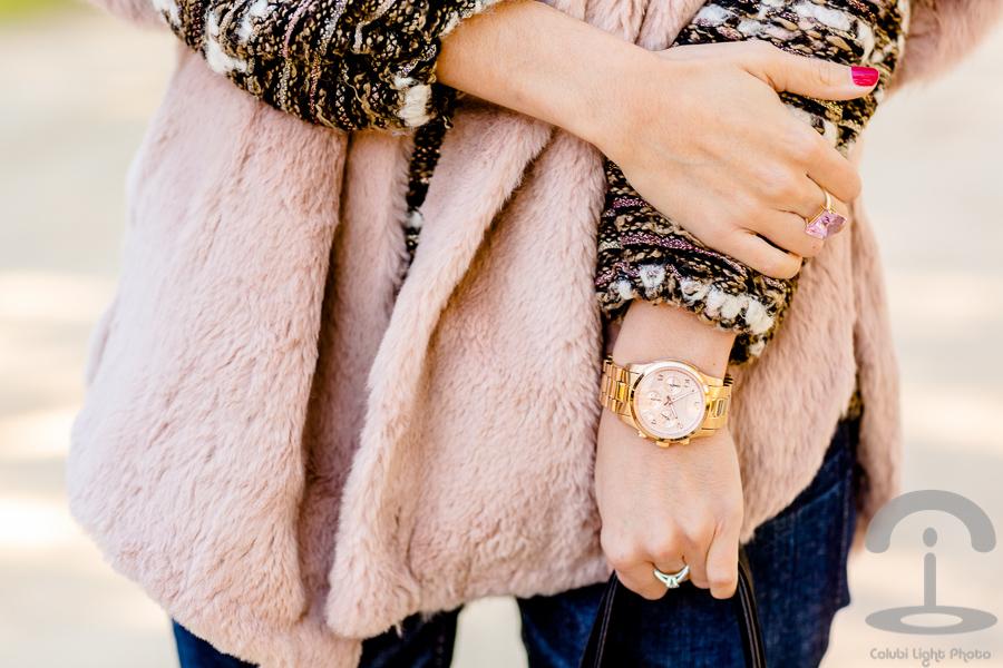 Abrigo de pelo rosa Crimenes de la Moda