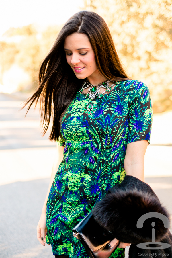 Vestido verde y azul Crimenes de la Moda