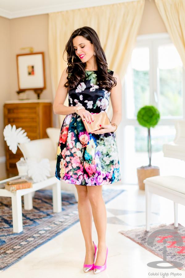 Vestido lady con flores Crimenes de la Moda