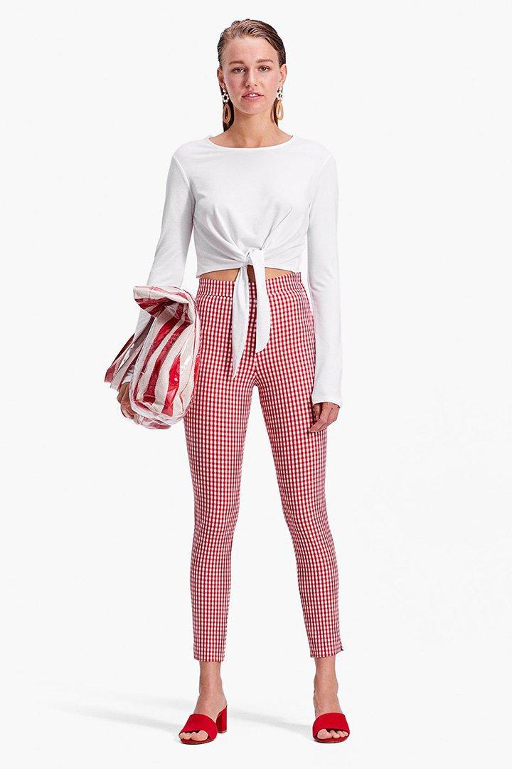 pantalones rojos de cuadros vichy