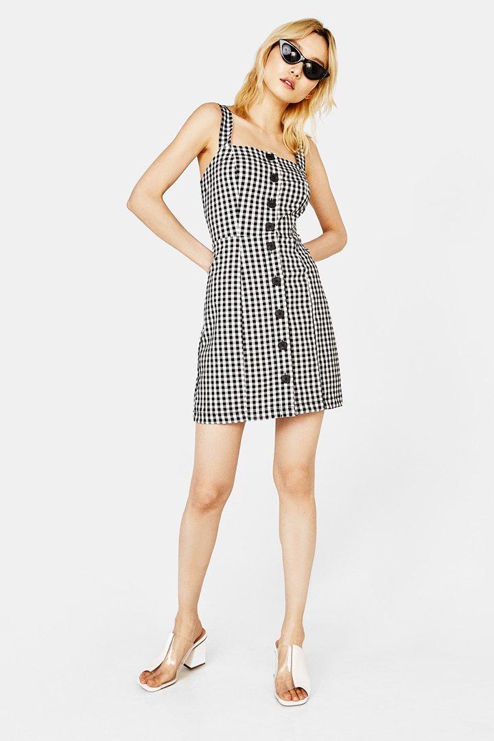 vestido corto de cuadros vichy
