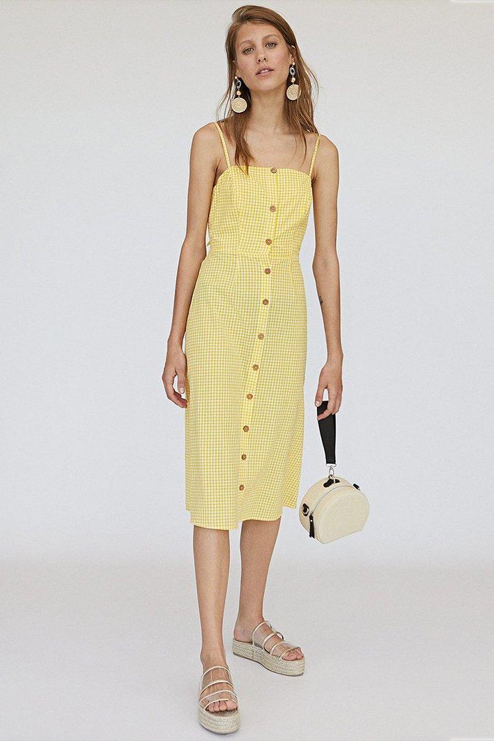 Vestido amarillo de cuadros vichy