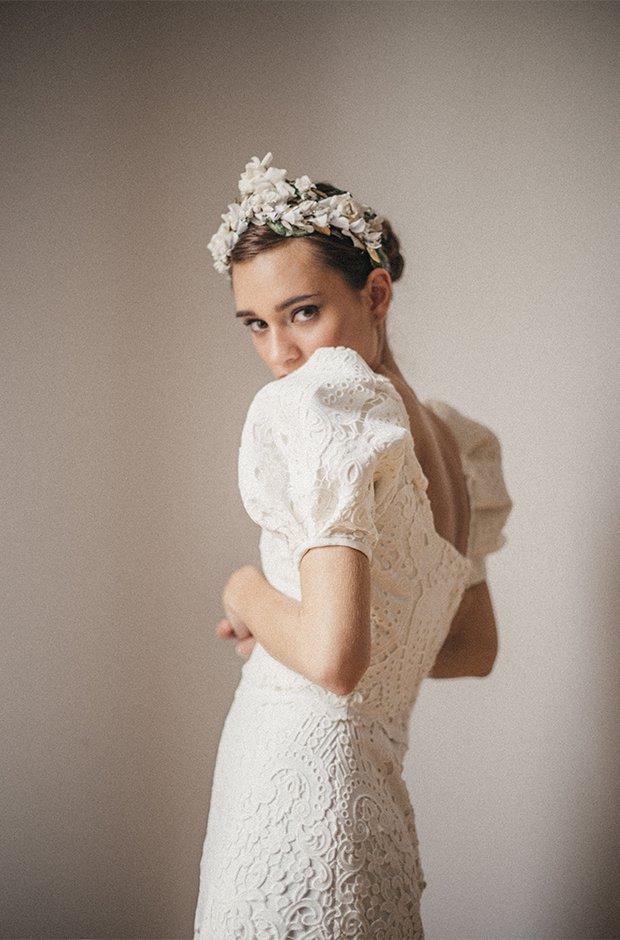 Vestido de novia con mangas abullonadas de la colección Danseuse de Cherubina