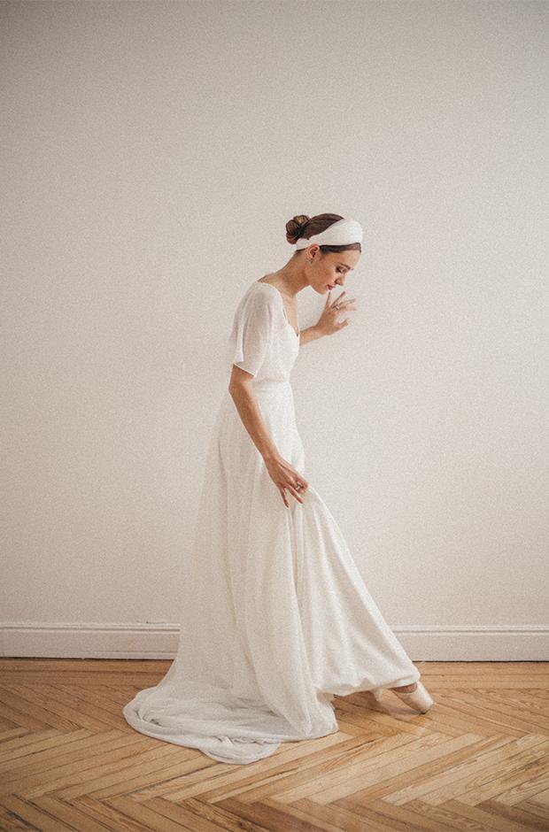 Vestido de novia con manga corta de la colección Danseuse de Cherubina