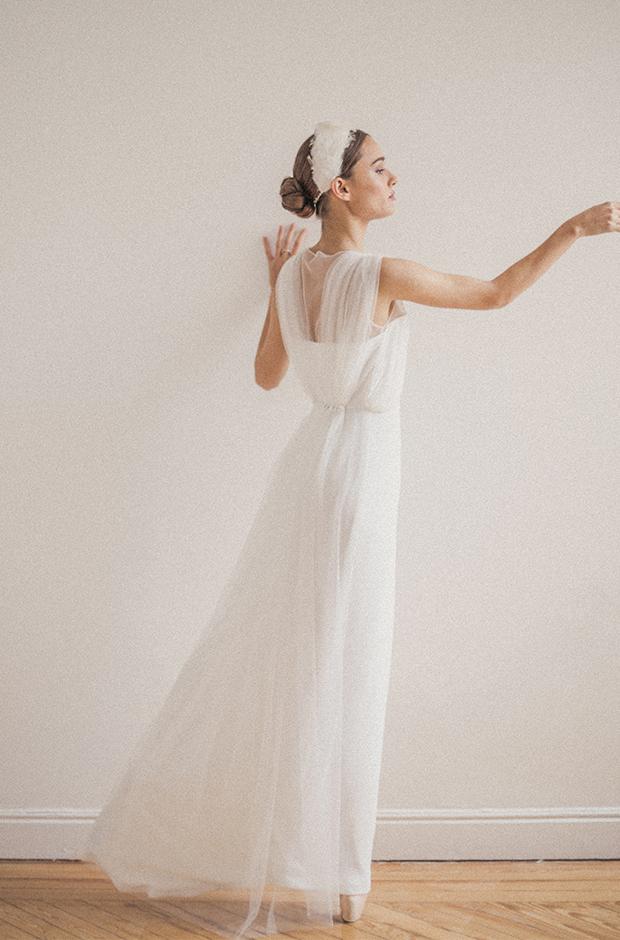 Vestido de novia con gasas de la colección Danseuse de Cherubina