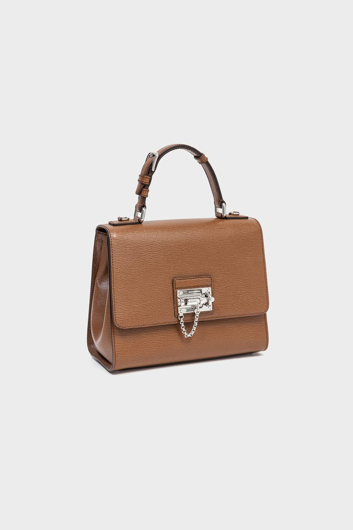 Bolso de mano marrón con cierre