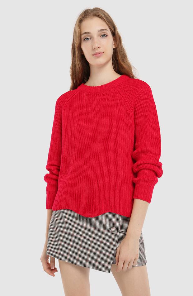 Jersey con bajo ondulado y cuello redondo de Easy Wear: jerséis otoño invierno 2018