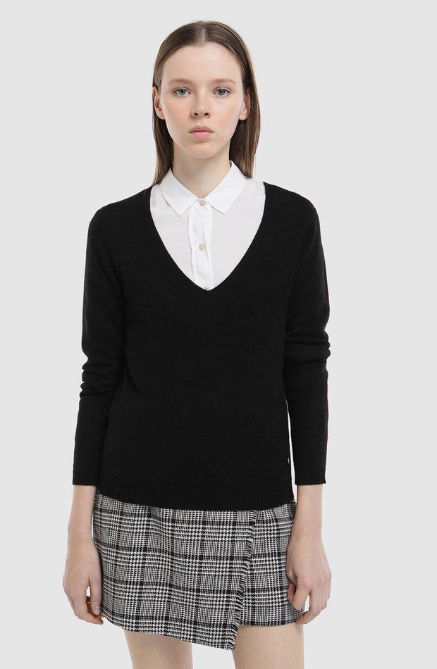 Jersey básico con cuello pico de Easy Wear: jerséis otoño invierno 2018