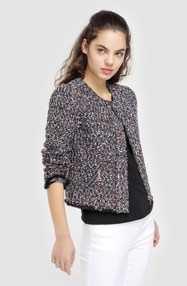 Chaqueta de tweed con cremallera de Easy Wear: chaqueta temporada 2019
