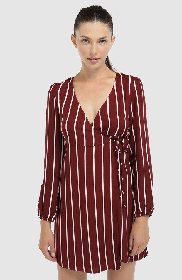 Vestido cruzado de rayas de Easy Wear: prenda invierno vestidos
