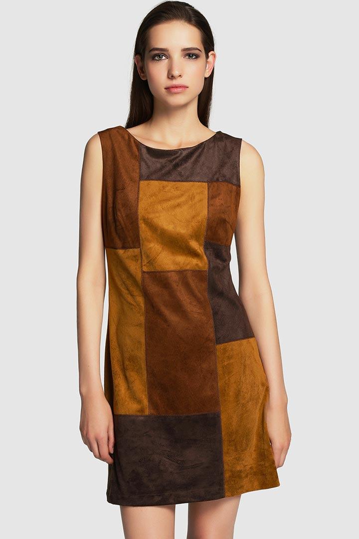 Vestido patchwork ante