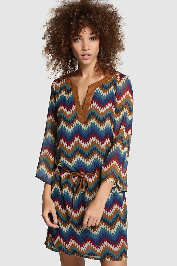 Vestido print zigzag
