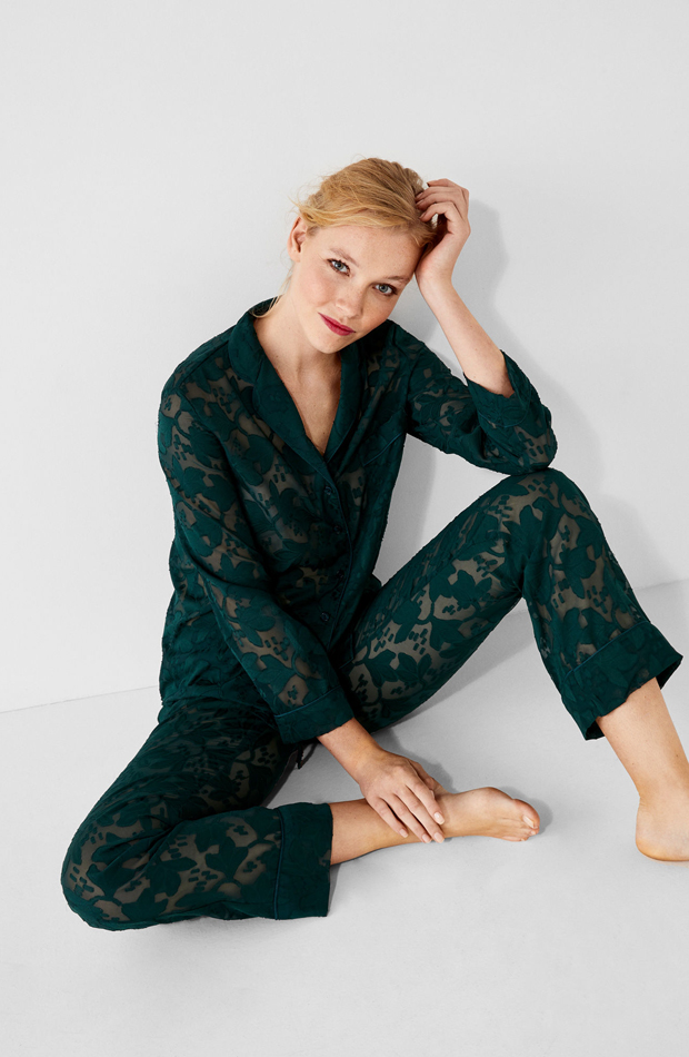 Pijama jacquard floral de Women Secret: pijamas