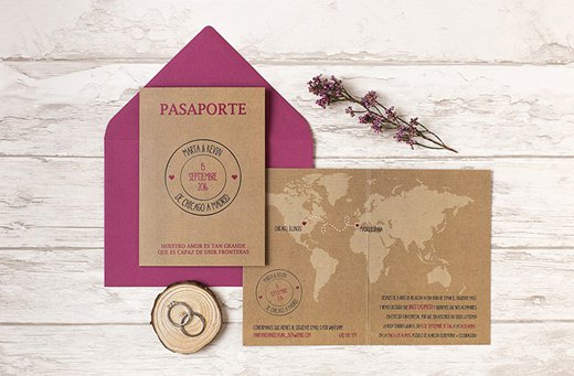 invitaciones de boda. para viajeros