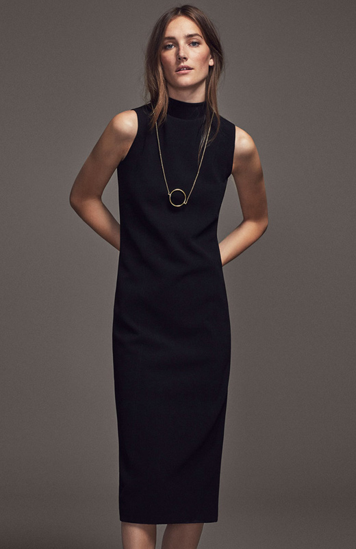 vestido entallado negro massimo dutti mujer