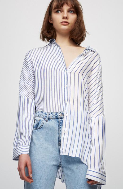 rayas azules. camisa desigual
