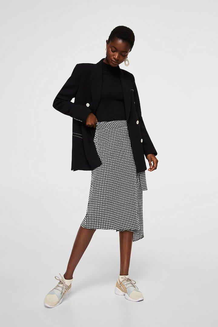 falda simétrica cuadros mango ropa