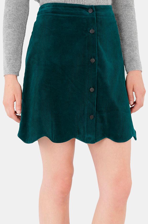 Falda verde con ondas de pana