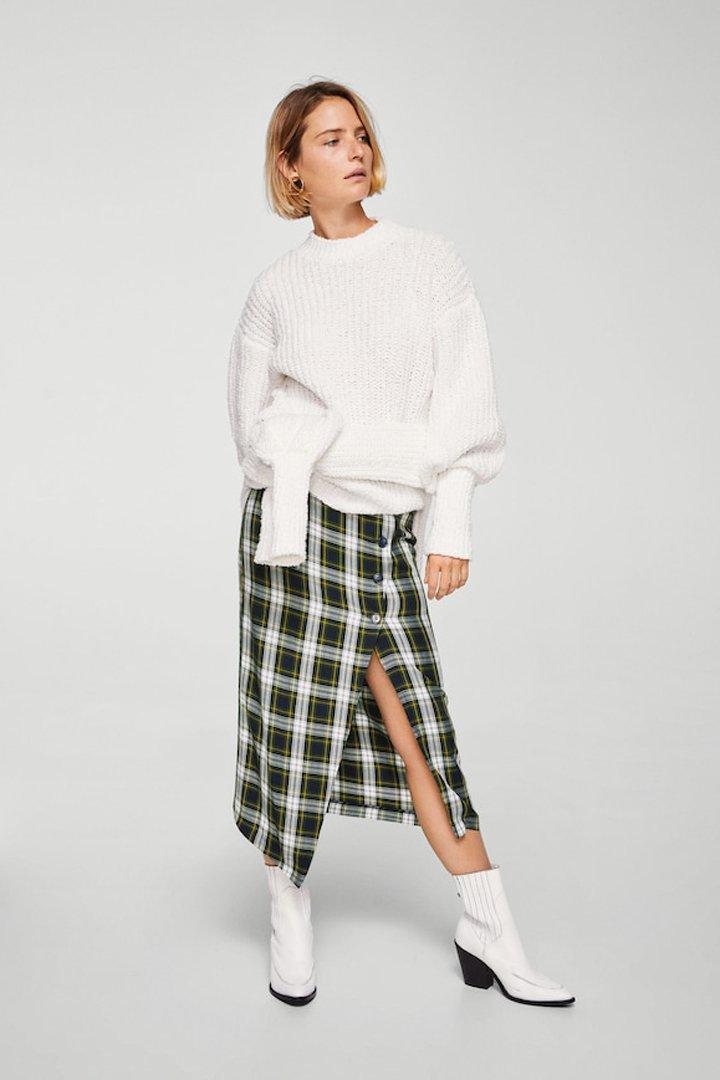 falda cruzada cuadros mango ropa