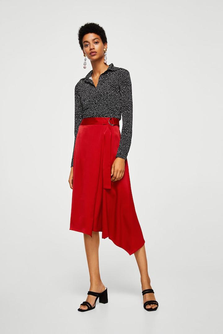 falda cruzada satinada mango ropa