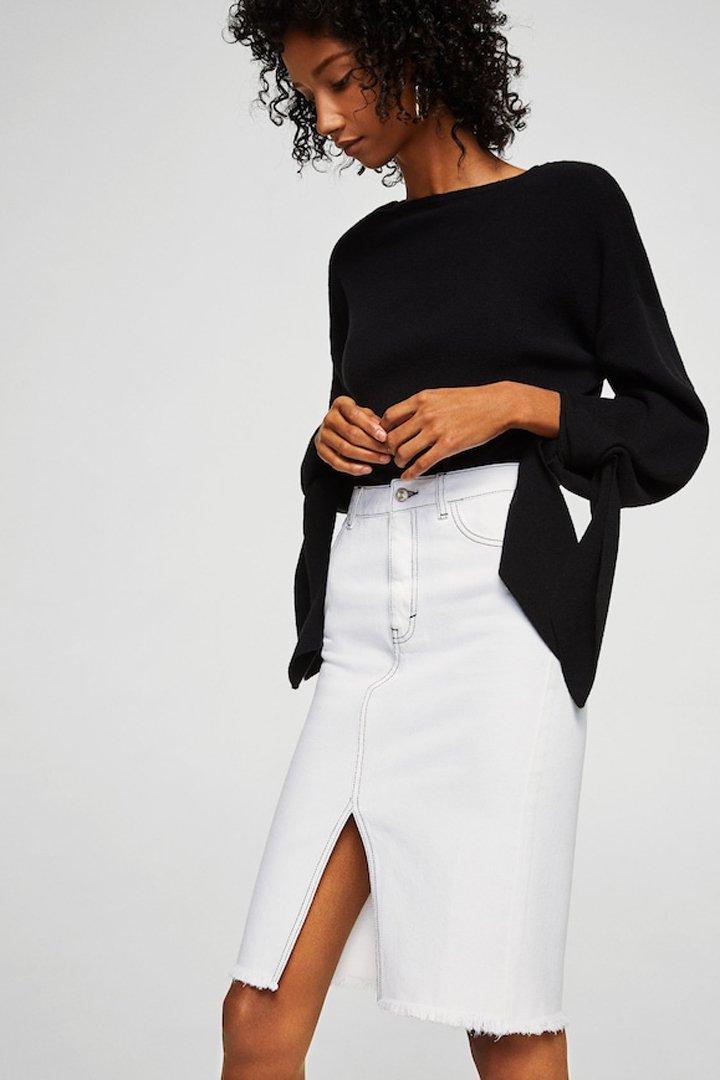 falda denim blanca midi mango ropa