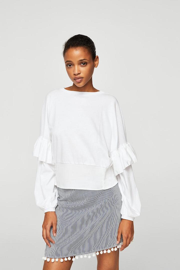 Falda estampado rayas pompones mango ropa