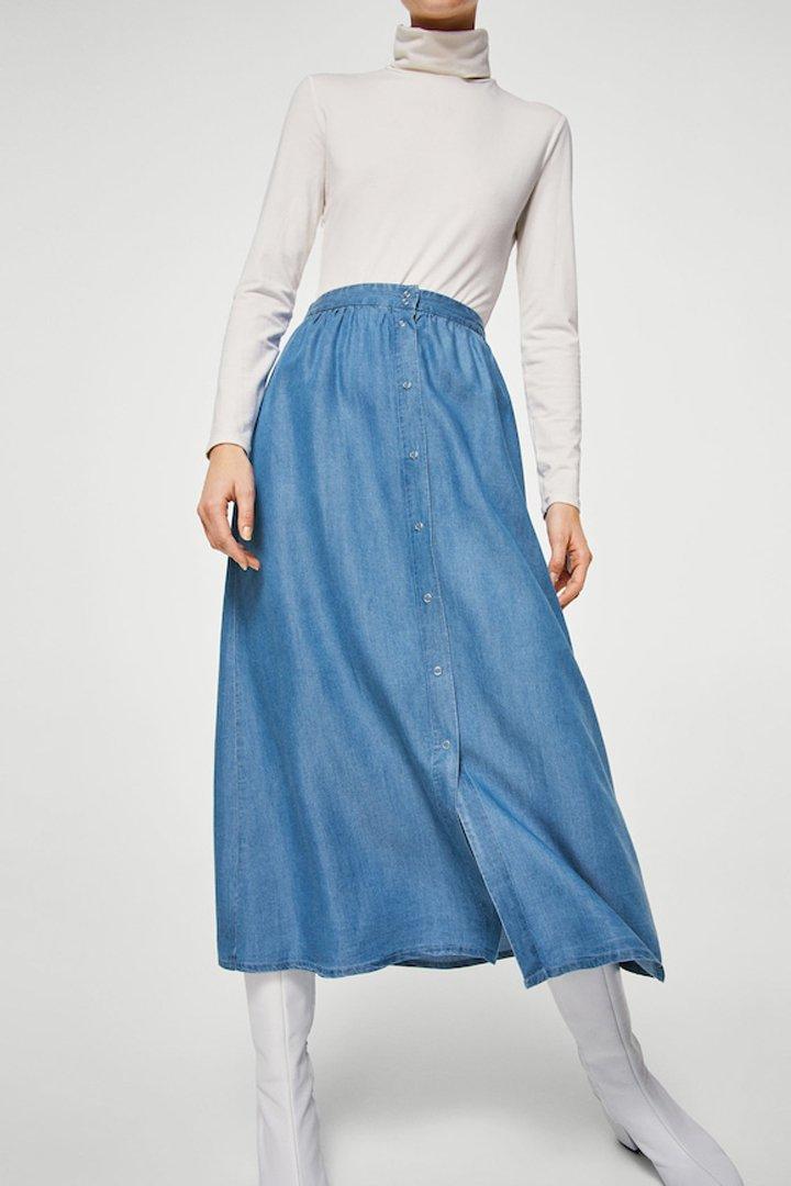 falda larga botones mango ropa