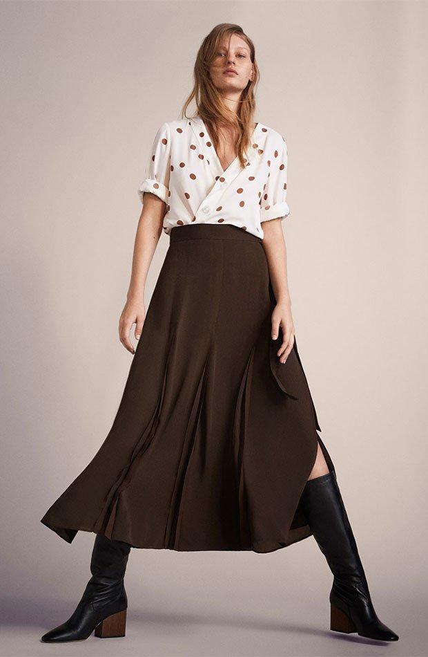 Falda larga en color marrón chocolate