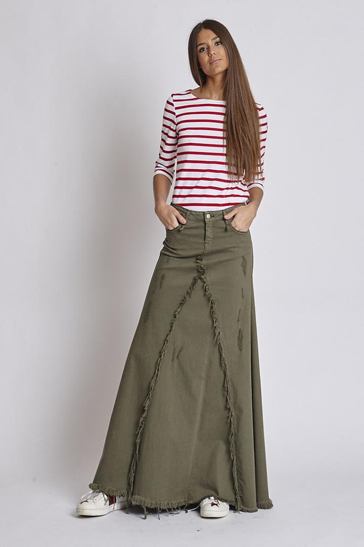 Falda larga verde de Zaitegui