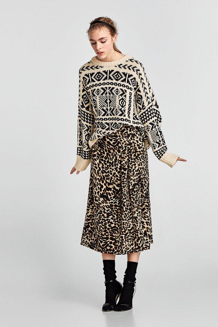 faldas midi primavera estampado leopardo zara
