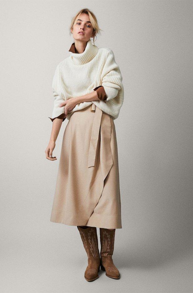 Falda midi beige