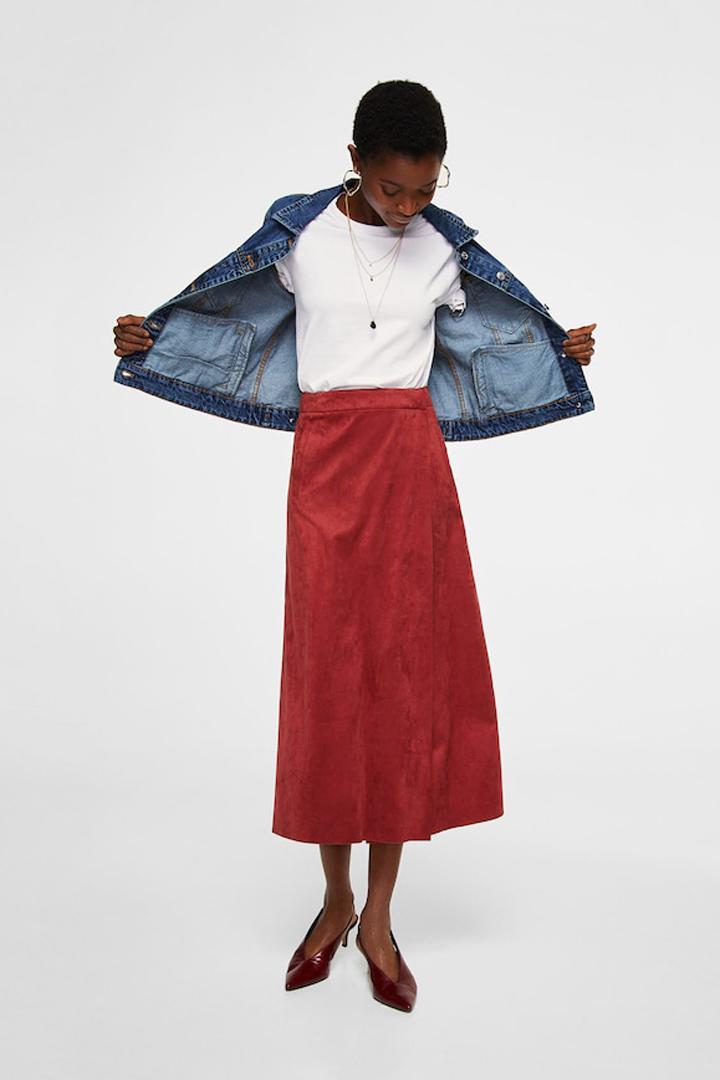 falda midi cruzada mango ropa
