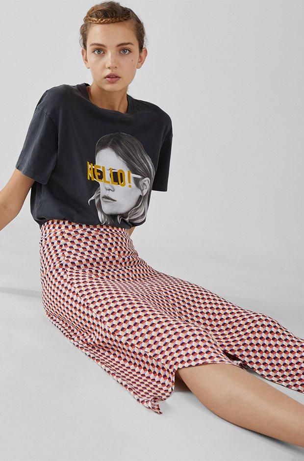 Falda midi estampada de bershka