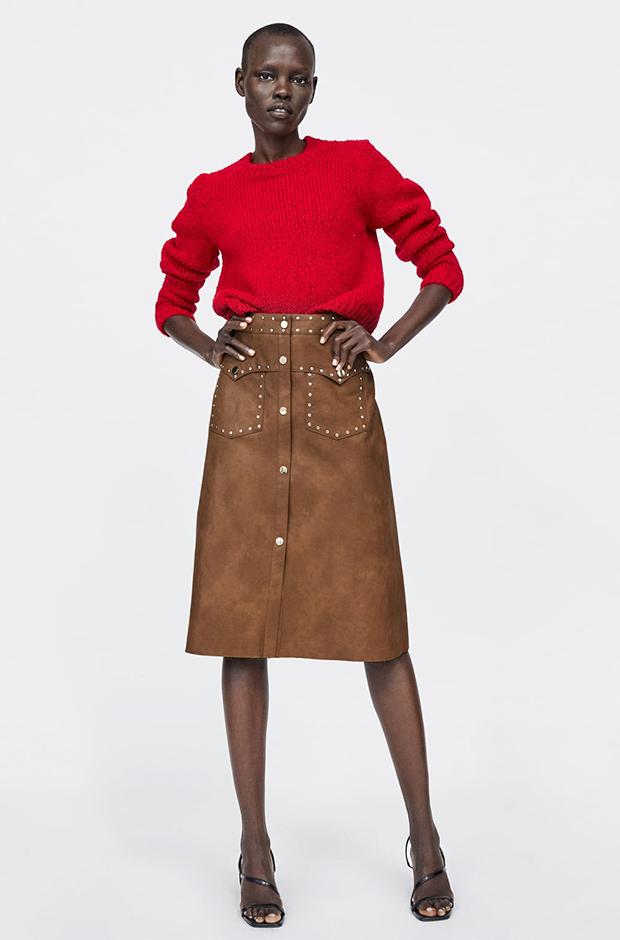 Falda midi marrón de Zara