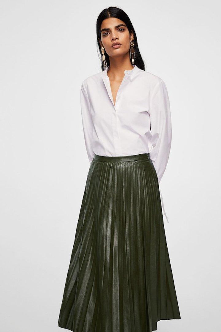 falda midi plisada mango ropa