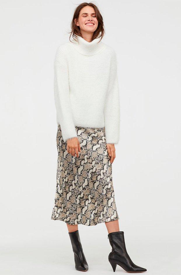 Falda midi de estampado de serpiente