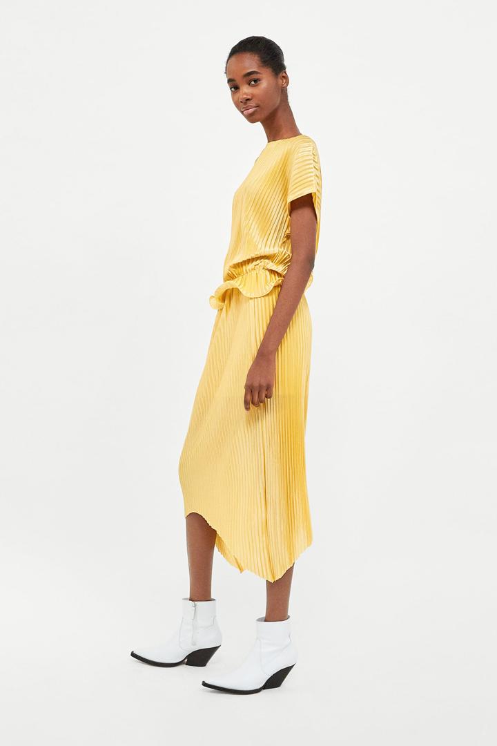 faldas midi primavera plisada amarilla zara