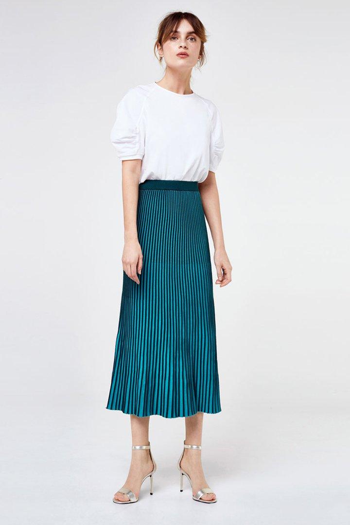faldas midi primavera plisada bicolor uterque