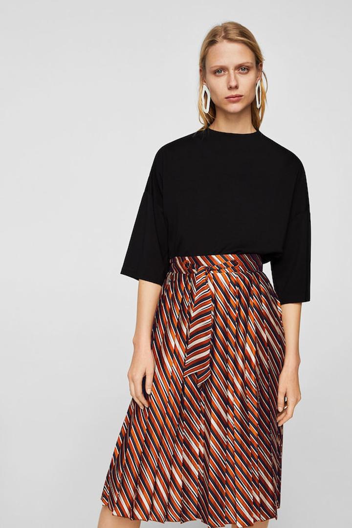 falda plisada rayas mango ropa