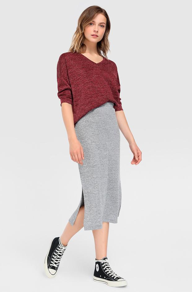 Falda gris de punto midi