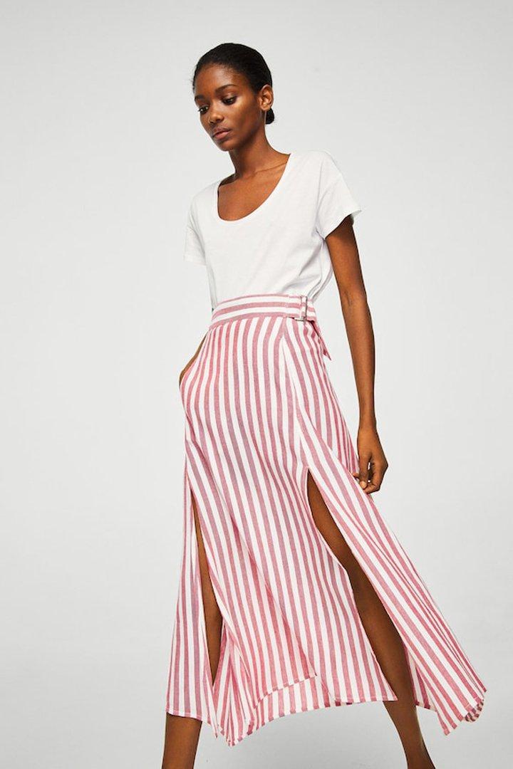 falda rayas lino mango ropa