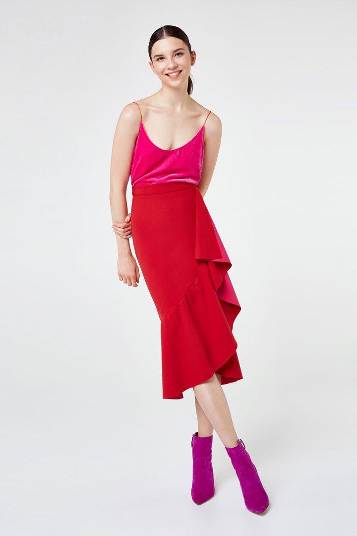 faldas midi primavera roja volantes uterque