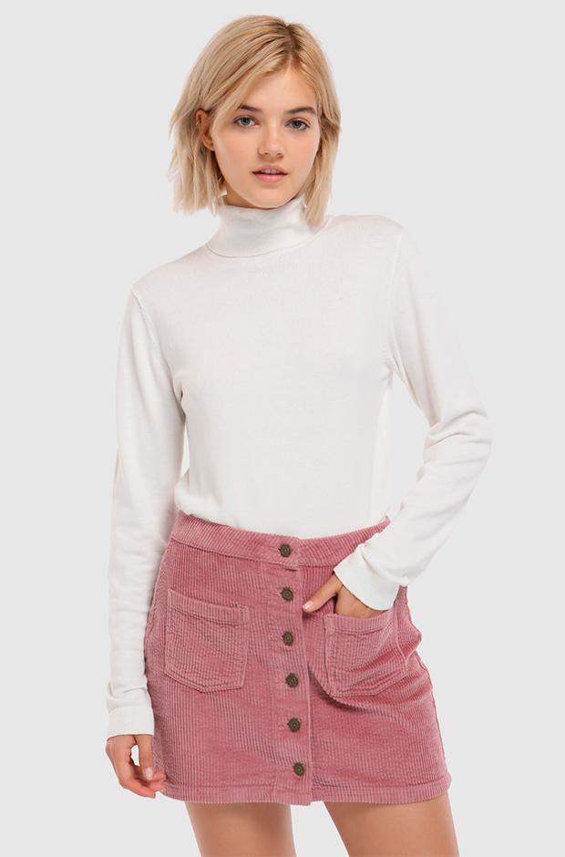 Falda rosa con botones de pana