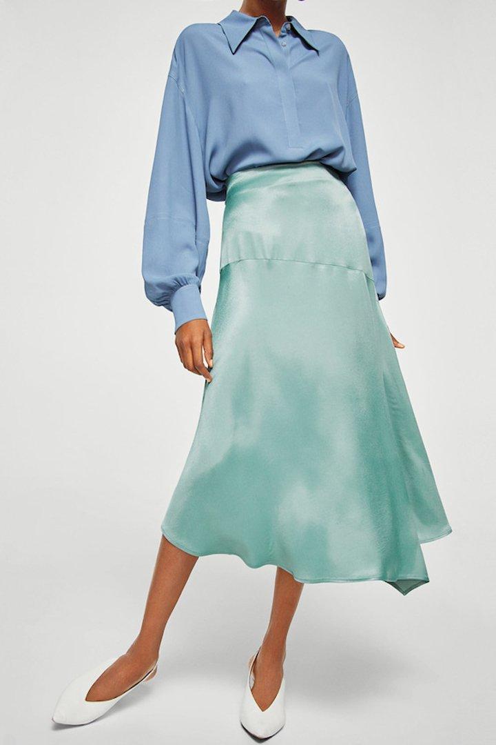 falda satinada asimétrica mango ropa