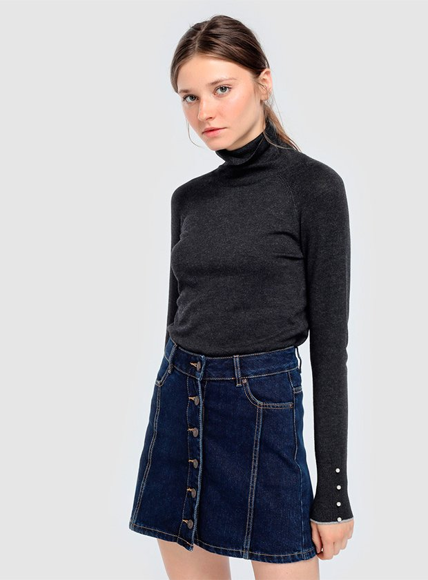 Falda de tejido denim con botones
